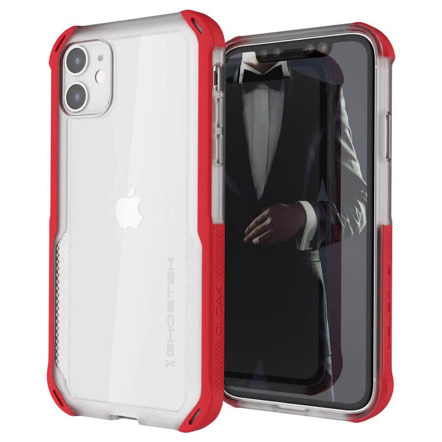 Ghostek Cloak 4 Case  — хибриден удароустойчив кейс за iPhone 11 (прозрачен-червен) - 1