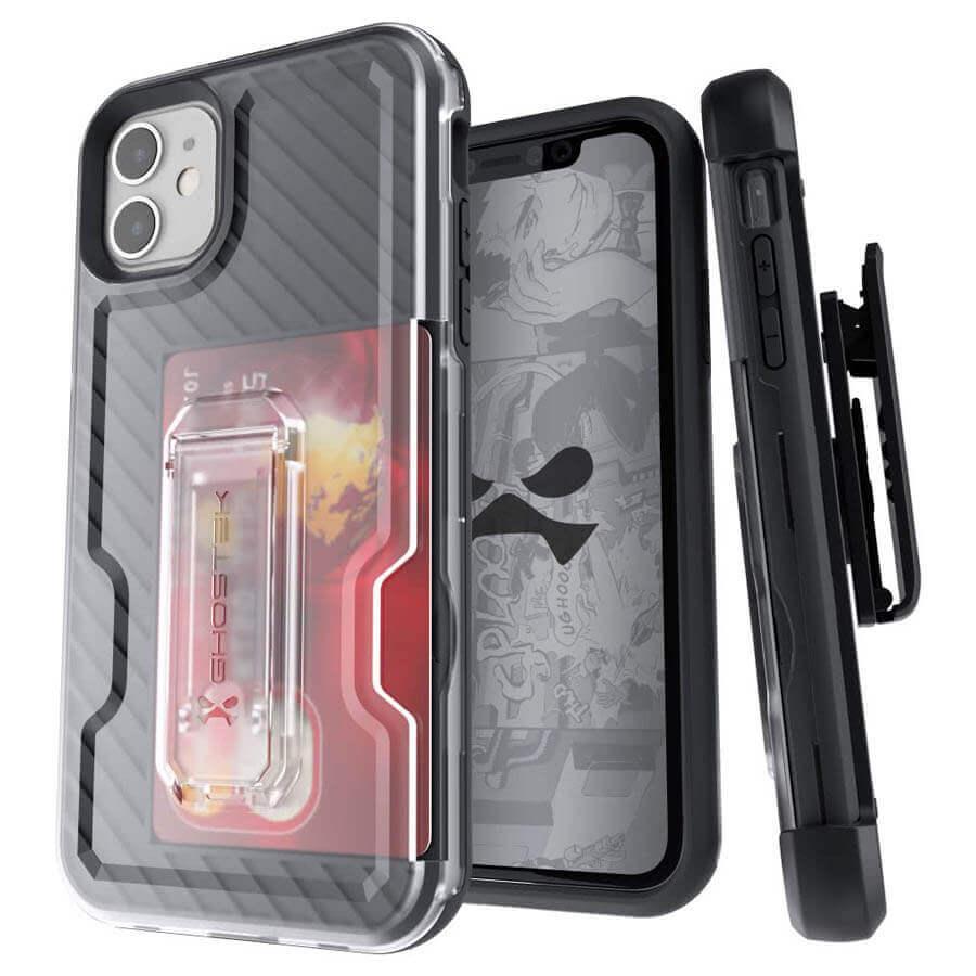 Ghostek Iron Armor 3 — удароустойчив хибриден кейс с щипка и слот за карти за iPhone 11 (черен) - 1