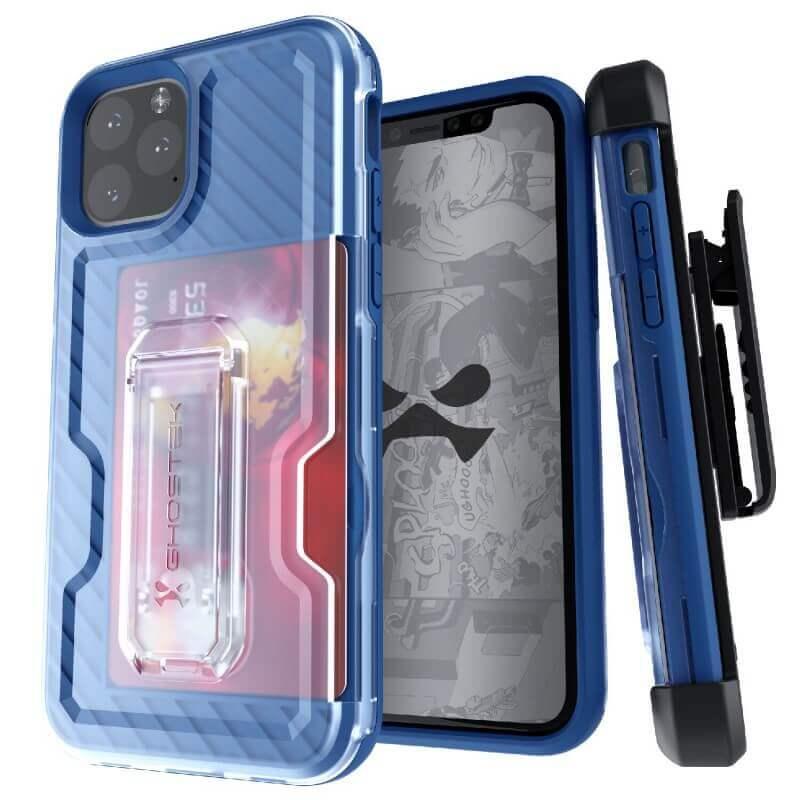 Ghostek Iron Armor 3 — удароустойчив хибриден кейс с щипка и слот за карти за iPhone 11 Pro Max (син) - 1