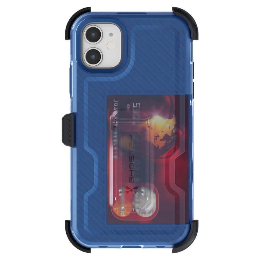 Ghostek Iron Armor 3 — удароустойчив хибриден кейс с щипка и слот за карти за iPhone 11 (син) - 3