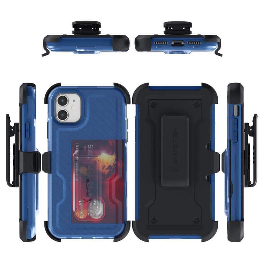 Ghostek Iron Armor 3 — удароустойчив хибриден кейс с щипка и слот за карти за iPhone 11 (син) - 4