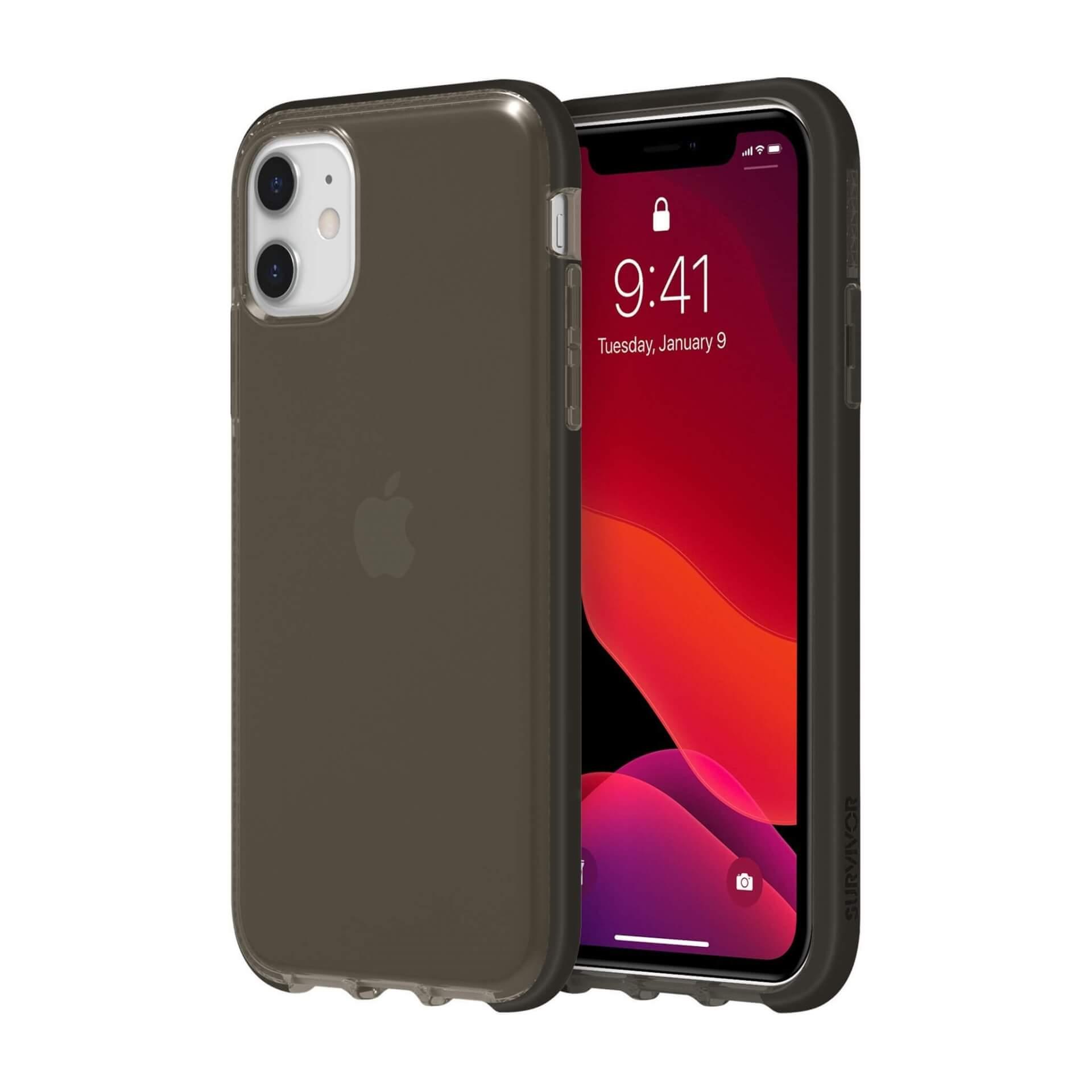 Griffin Survivor Clear Case — хибриден удароустойчив кейс за iPhone 11 (черен) - 1