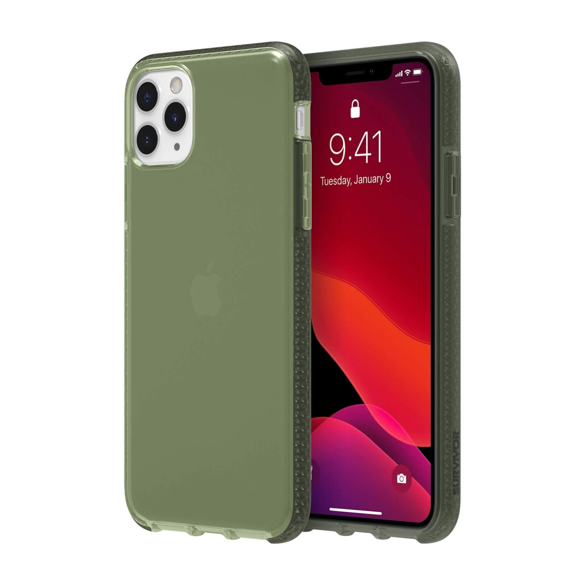 Griffin Survivor Clear Case — хибриден удароустойчив кейс за iPhone 11 Pro Max (зелен) - 1