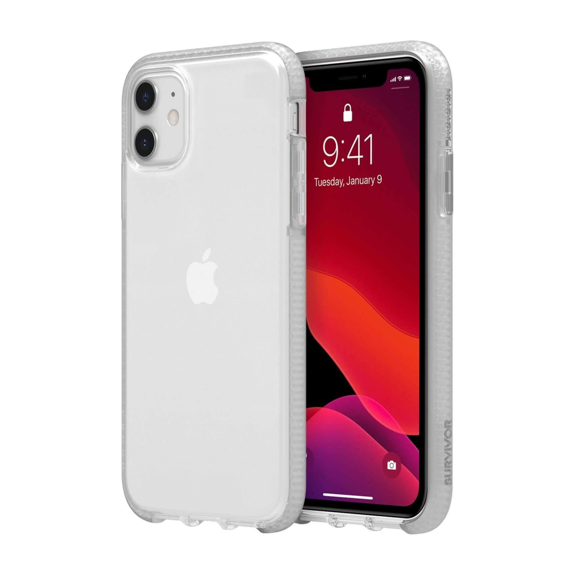 Griffin Survivor Clear Case — хибриден удароустойчив кейс за iPhone 11 (прозрачен) - 1