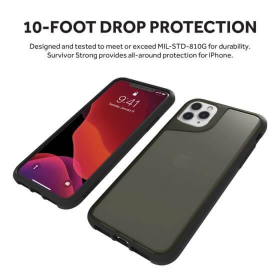Griffin Survivor Strong — хибриден удароустойчив кейс за iPhone 11 Pro Max (черен) - 5