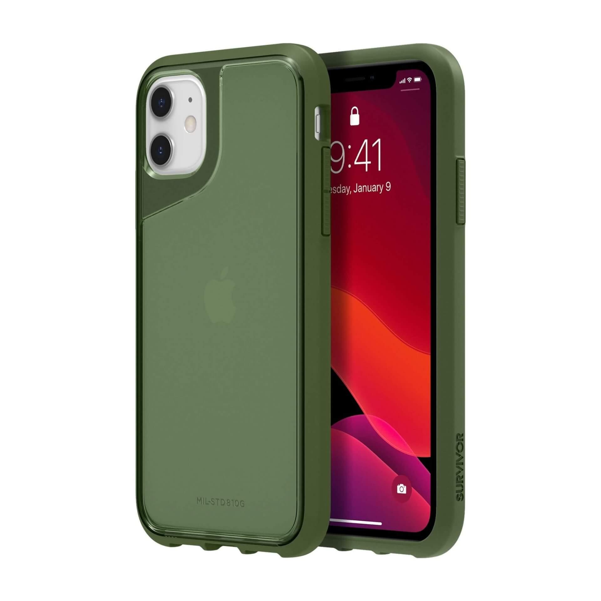 Griffin Survivor Strong — хибриден удароустойчив кейс за iPhone 11 (зелен) - 4