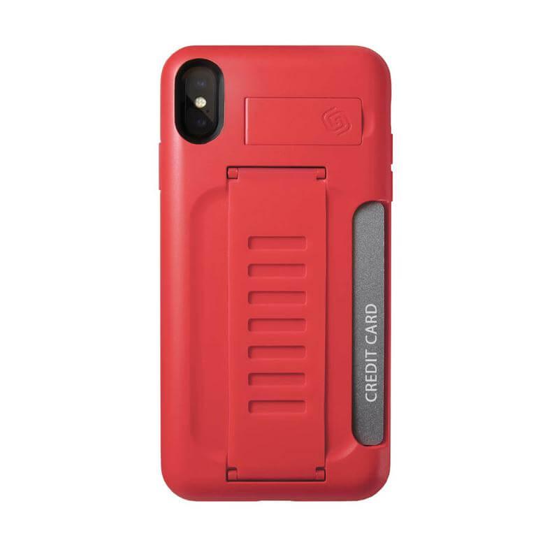 Grip2u BOSS Case with Kickstand — удароустойчив кейс със слот за кредитни карти за iPhone XS Max (червен) (bulk) - 1