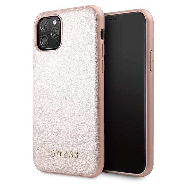 Guess Iridescent Leather Hard Case — дизайнерски кожен кейс за iPhone 11 Pro (розов) - 1