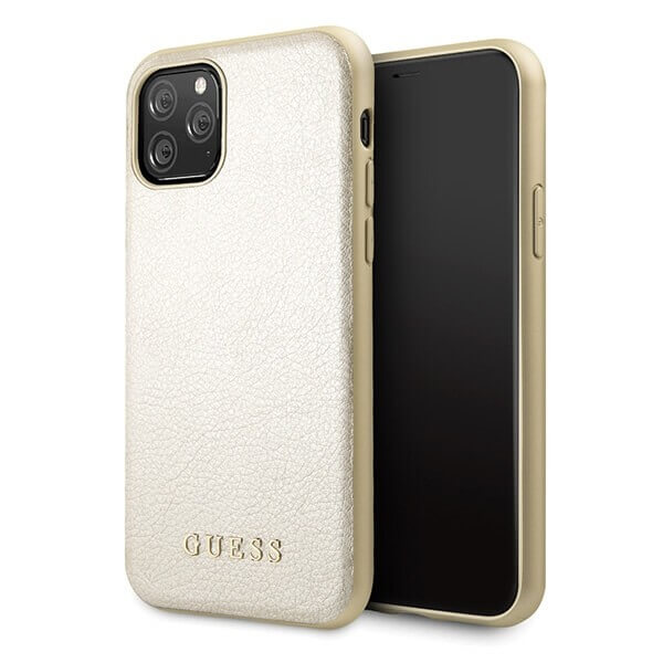 Guess Iridescent Leather Hard Case — дизайнерски кожен кейс за iPhone 11 Pro (златист) - 1