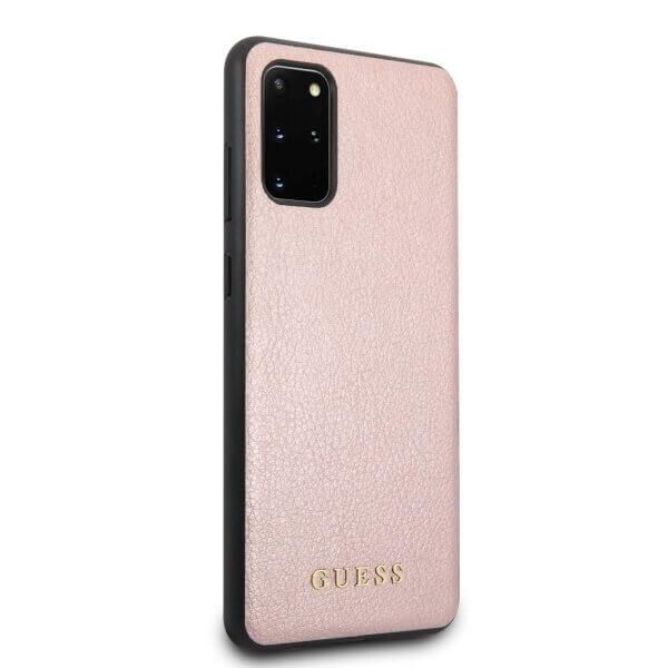 Guess Iridescent Leather Hard Case — дизайнерски кожен кейс за Samsung Galaxy S20 Plus (розово злато) - 3