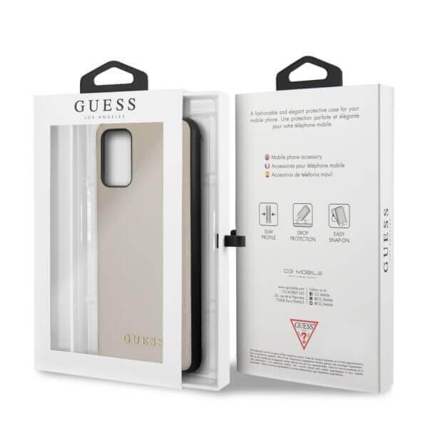 Guess Iridescent Leather Hard Case — дизайнерски кожен кейс за Samsung Galaxy S20 Plus (златист) - 4