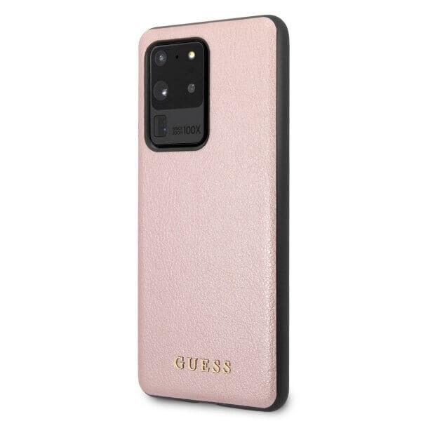 Guess Iridescent Leather Hard Case — дизайнерски кожен кейс за Samsung Galaxy S20 Ultra (розово злато) - 2