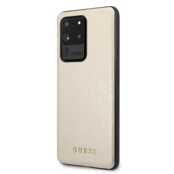 Guess Iridescent Leather Hard Case — дизайнерски кожен кейс за Samsung Galaxy S20 Ultra (златист) - 4