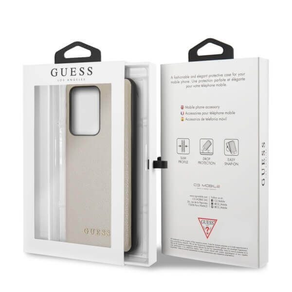 Guess Iridescent Leather Hard Case — дизайнерски кожен кейс за Samsung Galaxy S20 Ultra (златист) - 2