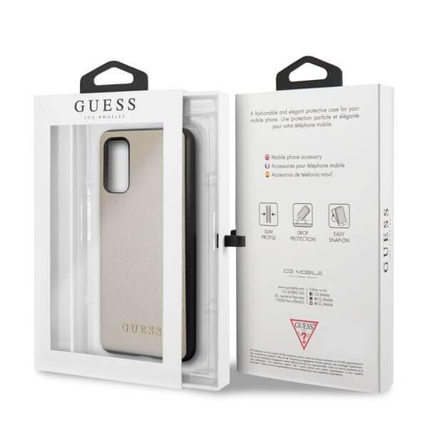 Guess Iridescent Leather Hard Case — дизайнерски кожен кейс за Samsung Galaxy S20 (златист) - 3