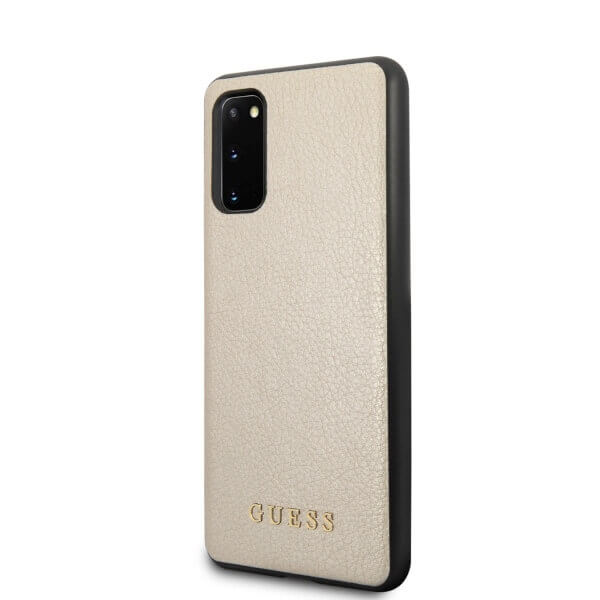Guess Iridescent Leather Hard Case — дизайнерски кожен кейс за Samsung Galaxy S20 (златист) - 2