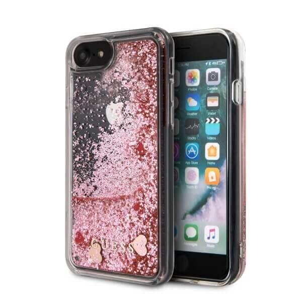 Guess Liquid Glitter Hearts Case — дизайнерски кейс с висока защита за iPhone SE (2020), iPhone 8, iPhone 7 (розово злато) - 1