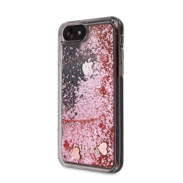 Guess Liquid Glitter Hearts Case — дизайнерски кейс с висока защита за iPhone SE (2020), iPhone 8, iPhone 7 (розово злато) - 2