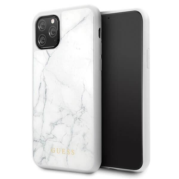 Guess Marble Hard Case — дизайнерски кейс с висока защита за iPhone 11 Pro (бял) - 1