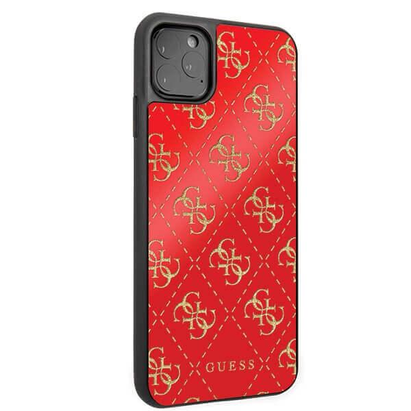 Guess Peony G Double Layer Glitter Case — дизайнерски кейс с висока защита за iPhone 11 Pro Max (червен) - 4