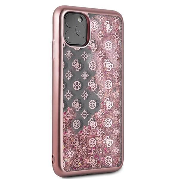 Guess Peony Liquid Glitter Case — дизайнерски кейс с висока защита за iPhone 11 Pro Max (розов) - 4