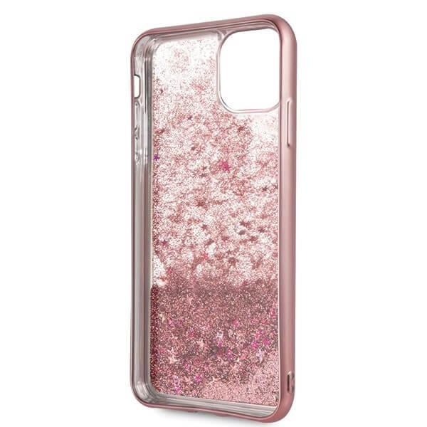 Guess Peony Liquid Glitter Case — дизайнерски кейс с висока защита за iPhone 11 Pro Max (розов) - 5
