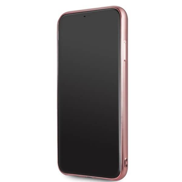 Guess Peony Liquid Glitter Case — дизайнерски кейс с висока защита за iPhone 11 Pro Max (розов) - 3