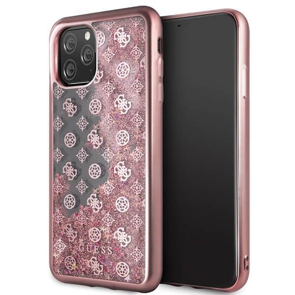 Guess Peony Liquid Glitter Case — дизайнерски кейс с висока защита за iPhone 11 Pro Max (розов) - 1