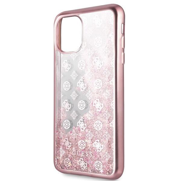 Guess Peony Liquid Glitter Case — дизайнерски кейс с висока защита за iPhone 11 Pro Max (розов) - 2