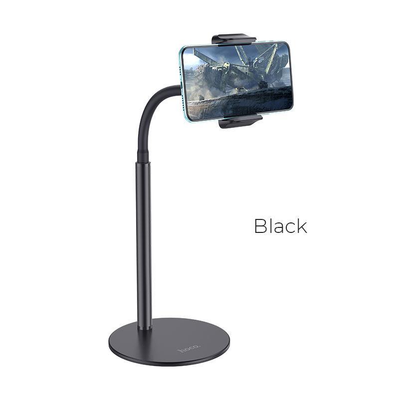 Hoco PH28 Metal Desktop Stand - универсална поставка за бюро и плоскости за мобилни устройства и таблети с ширина до 7 инча (черен) - 1