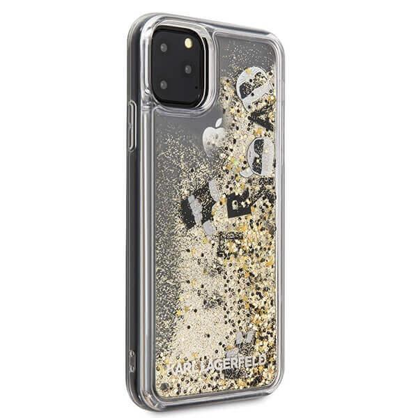Karl Lagerfeld Glitter Floatting Charms Case — дизайнерски кейс с висока защита за iPhone 11 Pro Max (златист) - 5