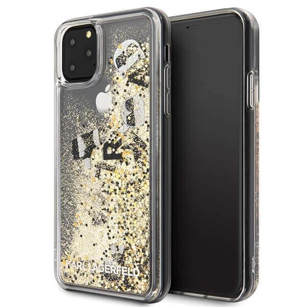 Karl Lagerfeld Glitter Floatting Charms Case — дизайнерски кейс с висока защита за iPhone 11 Pro Max (златист) - 1