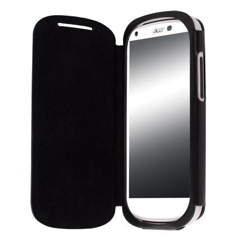 Krusell Donso FlipCover — калъф от естествена кожа за Acer Liquid E1 (черен) - 1