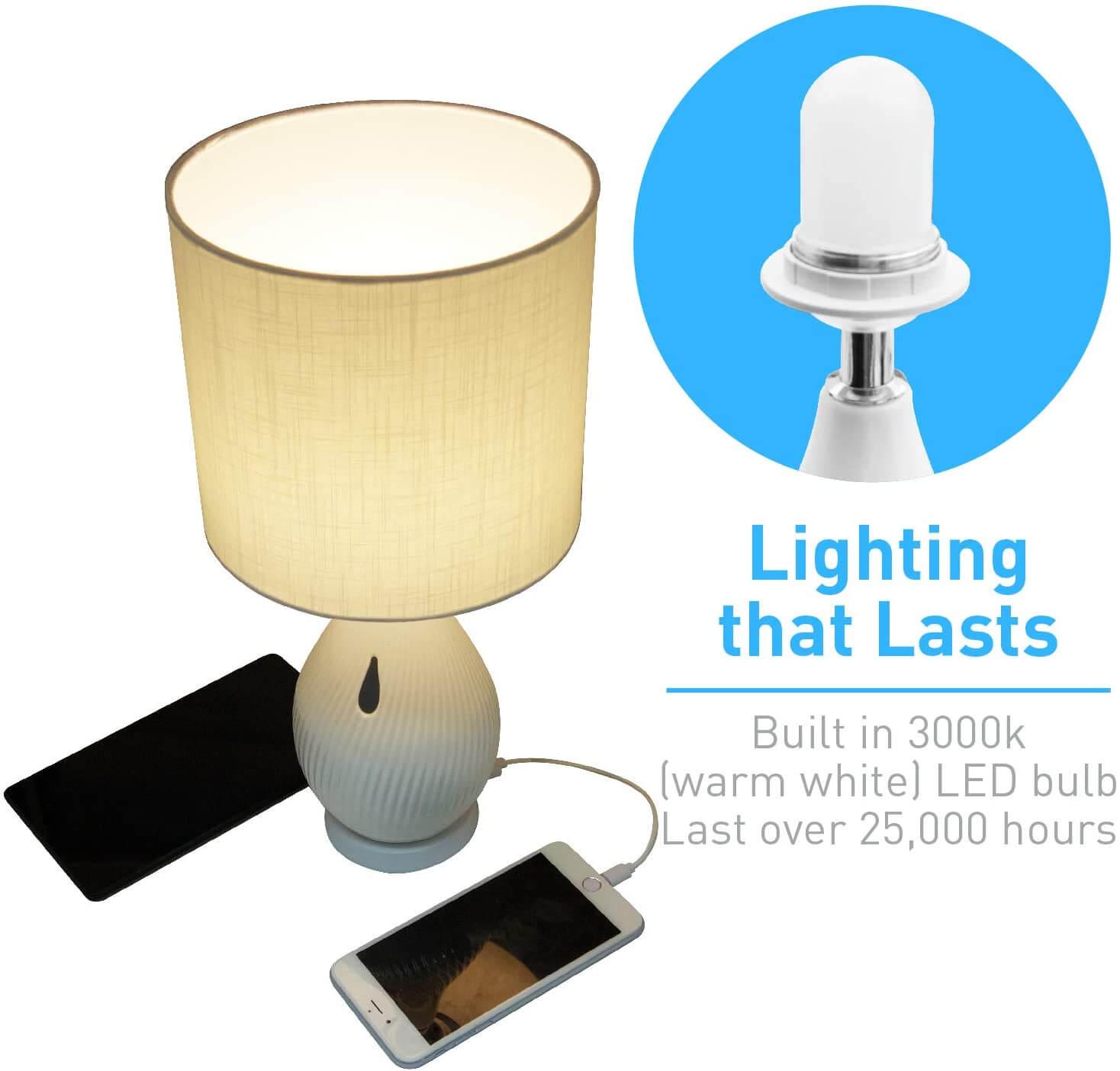 Macally Ceramic LED Table Lamp - настолна LED лампа с 2 х USB-A изхода за зареждане на мобилни устройства (бял) - 3