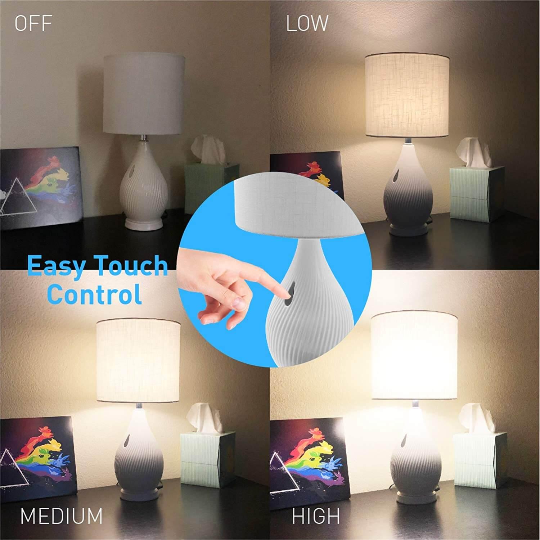 Macally Ceramic LED Table Lamp - настолна LED лампа с 2 х USB-A изхода за зареждане на мобилни устройства (бял) - 4