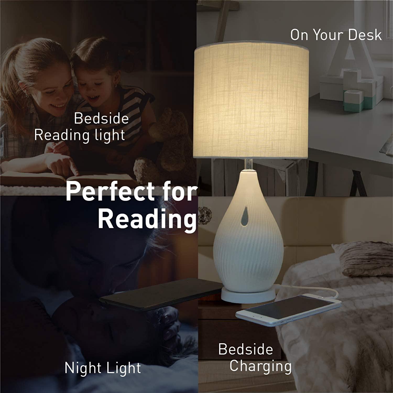Macally Ceramic LED Table Lamp - настолна LED лампа с 2 х USB-A изхода за зареждане на мобилни устройства (бял) - 5