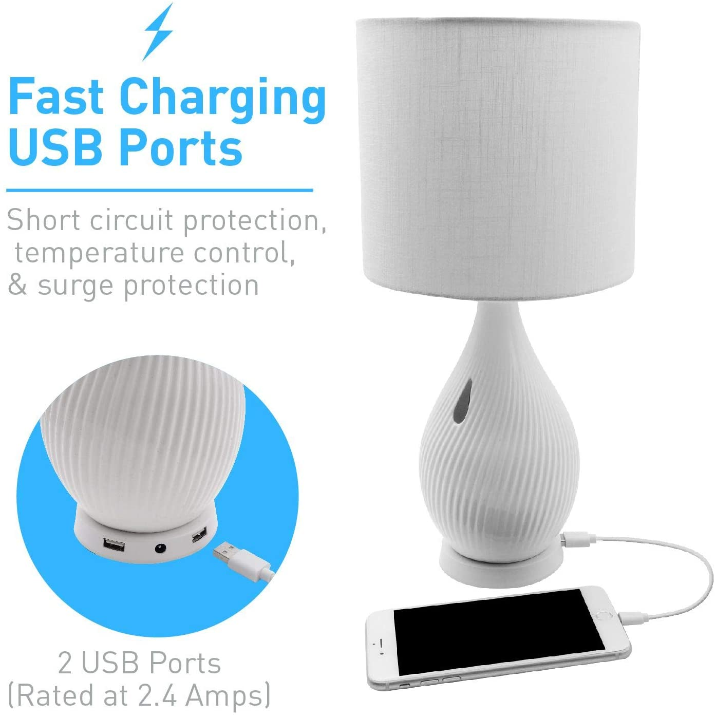 Macally Ceramic LED Table Lamp - настолна LED лампа с 2 х USB-A изхода за зареждане на мобилни устройства (бял) - 2