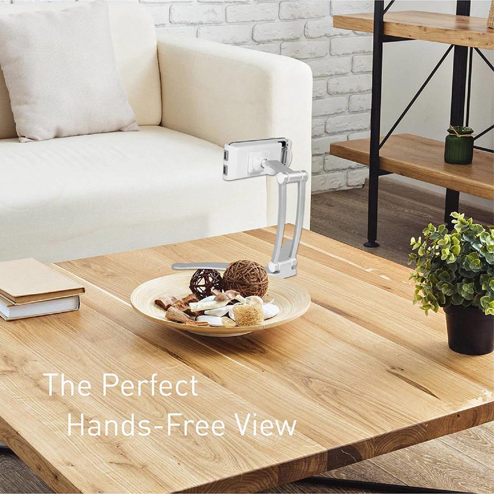 Macally Stand Wall Mount — универсална поставка за бюро, шкаф, стена и плоскости за мобилни устройства и таблети с ширина до 28 см - 4