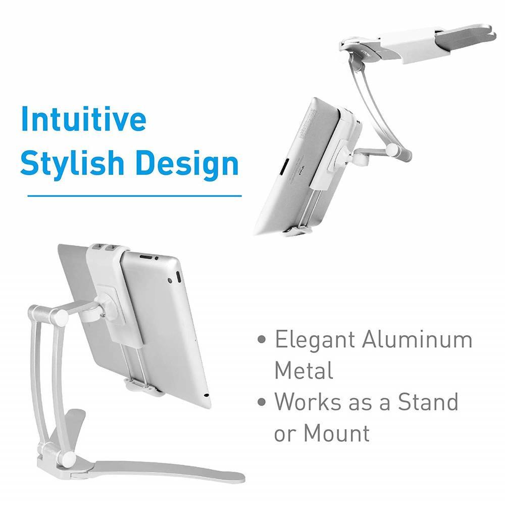 Macally Stand Wall Mount — универсална поставка за бюро, шкаф, стена и плоскости за мобилни устройства и таблети с ширина до 28 см - 5