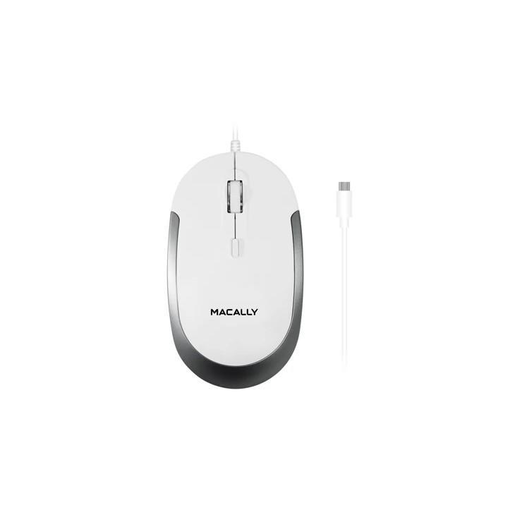 Macally USB-C Optical Quiet Click Mouse - USB-C оптична мишка за PC и Mac (бял) - 2