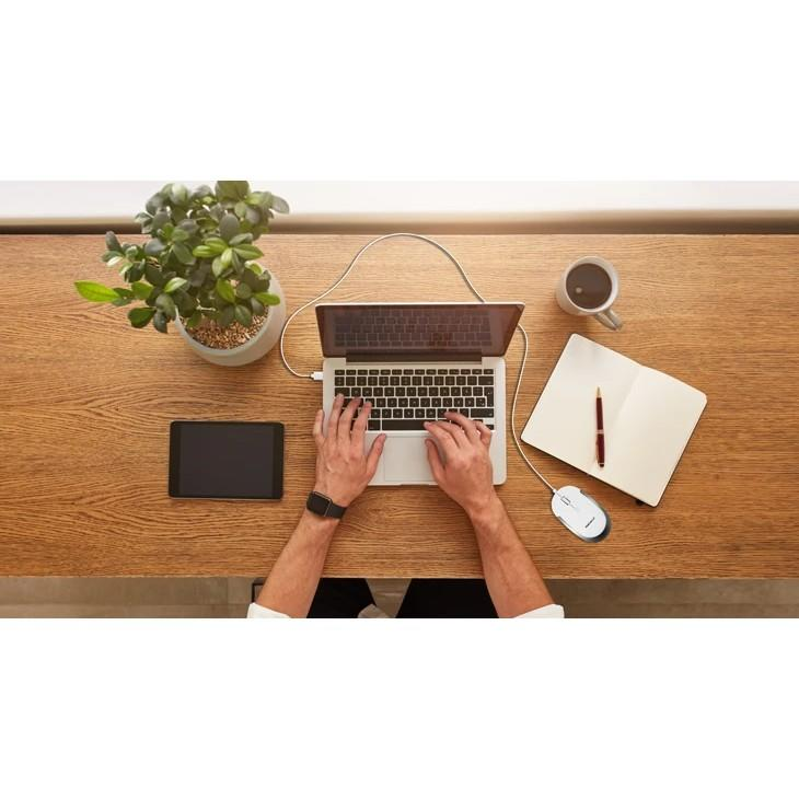 Macally USB-C Optical Quiet Click Mouse - USB-C оптична мишка за PC и Mac (бял) - 5