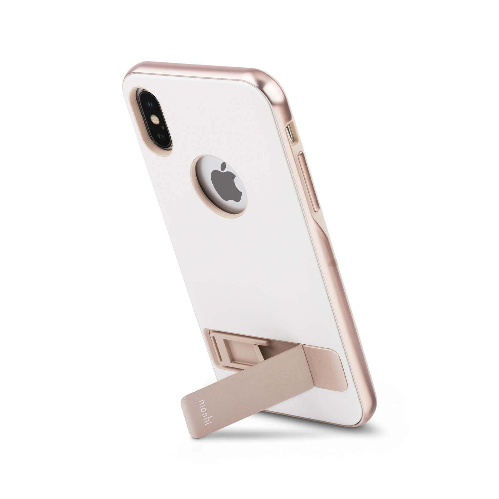 Moshi Kameleon Case — удароустойчив кожен кейс за iPhone XS, iPhone X (бял) - 3