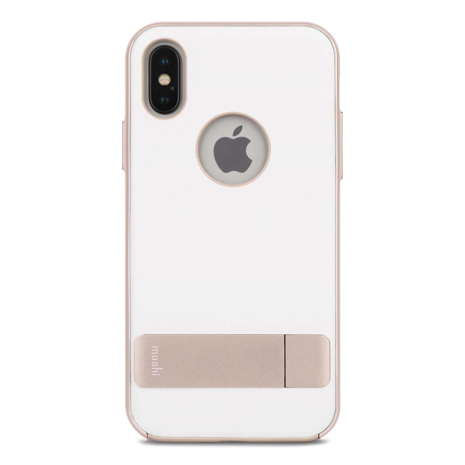 Moshi Kameleon Case — удароустойчив кожен кейс за iPhone XS, iPhone X (бял) - 1