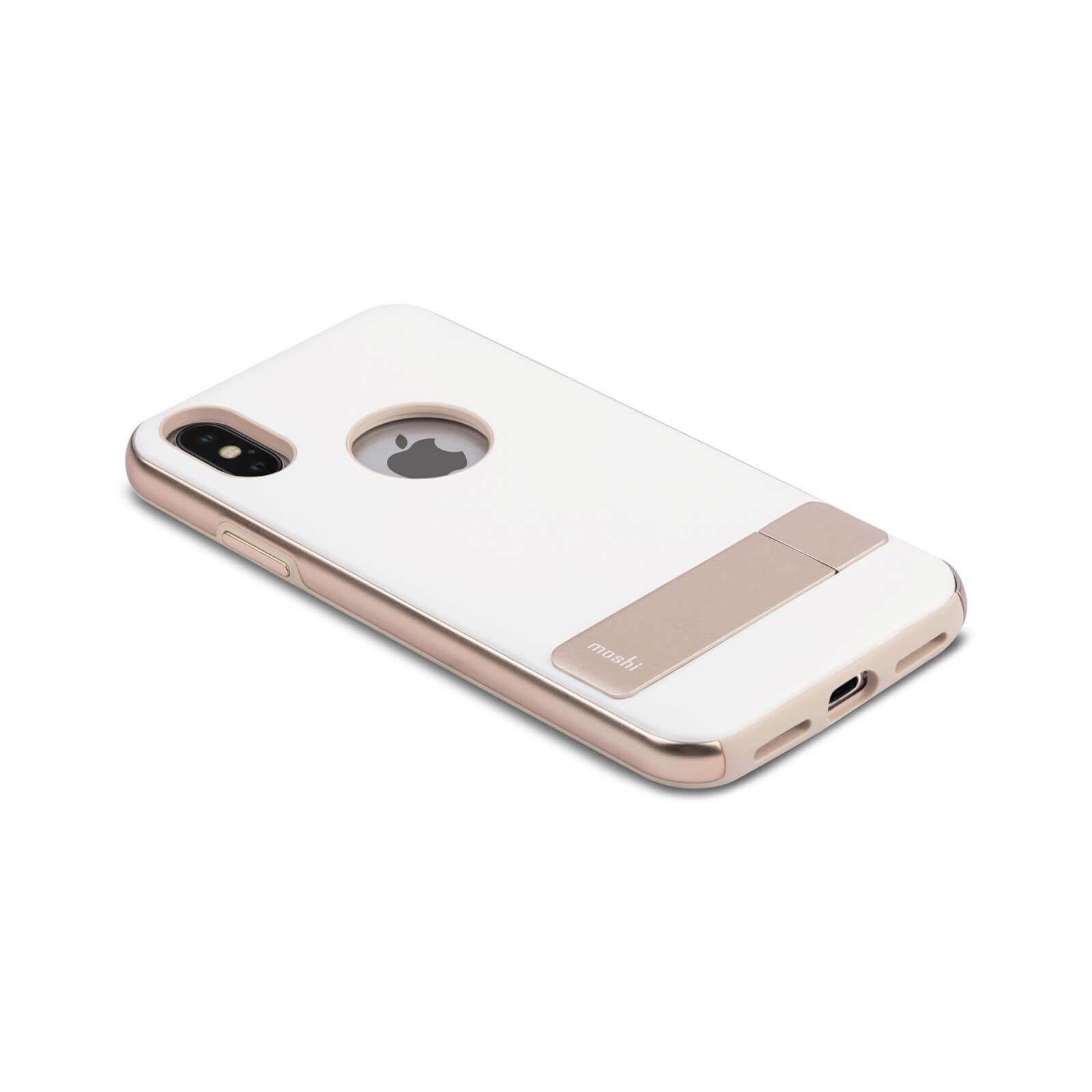 Moshi Kameleon Case — удароустойчив кожен кейс за iPhone XS, iPhone X (бял) - 2