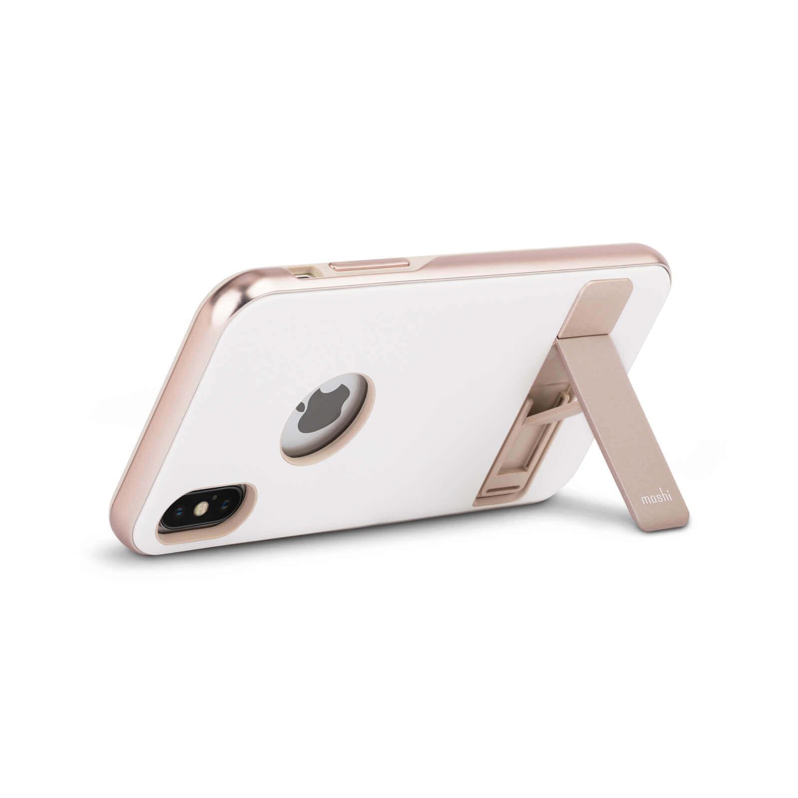 Moshi Kameleon Case — удароустойчив кожен кейс за iPhone XS, iPhone X (бял) - 4