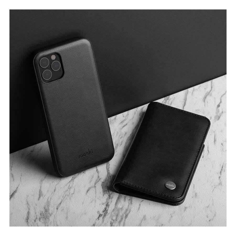 Moshi Overture Case — елегантен кожен калъф (с кейс) тип портфейл за iPhone 11 Pro Max (черен) - 3