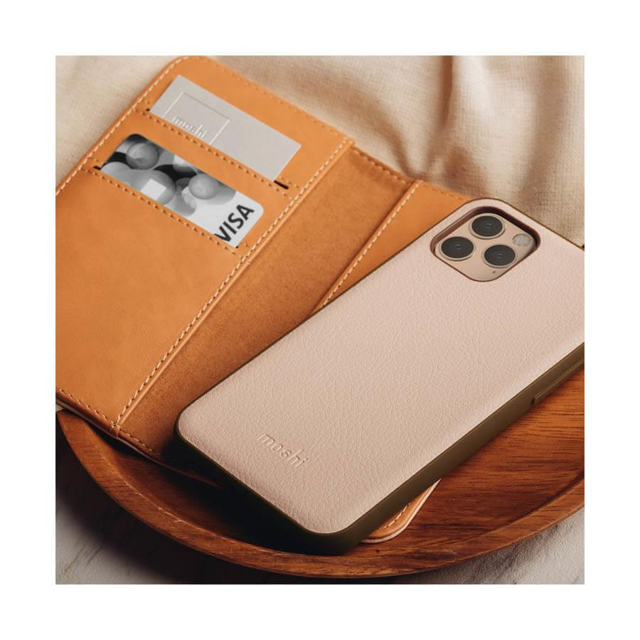 Moshi Overture SnapTo Case — елегантен кожен калъф (с кейс) тип портфейл за iPhone 11 Pro Max (розов) - 5