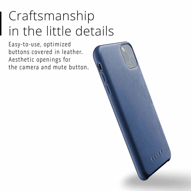 Mujjo Full Leather Case — кожен (естествена кожа) кейс за iPhone 11 Pro Max (син) - 5
