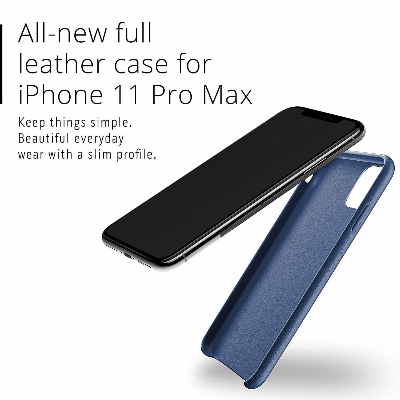 Mujjo Full Leather Case — кожен (естествена кожа) кейс за iPhone 11 Pro Max (син) - 4