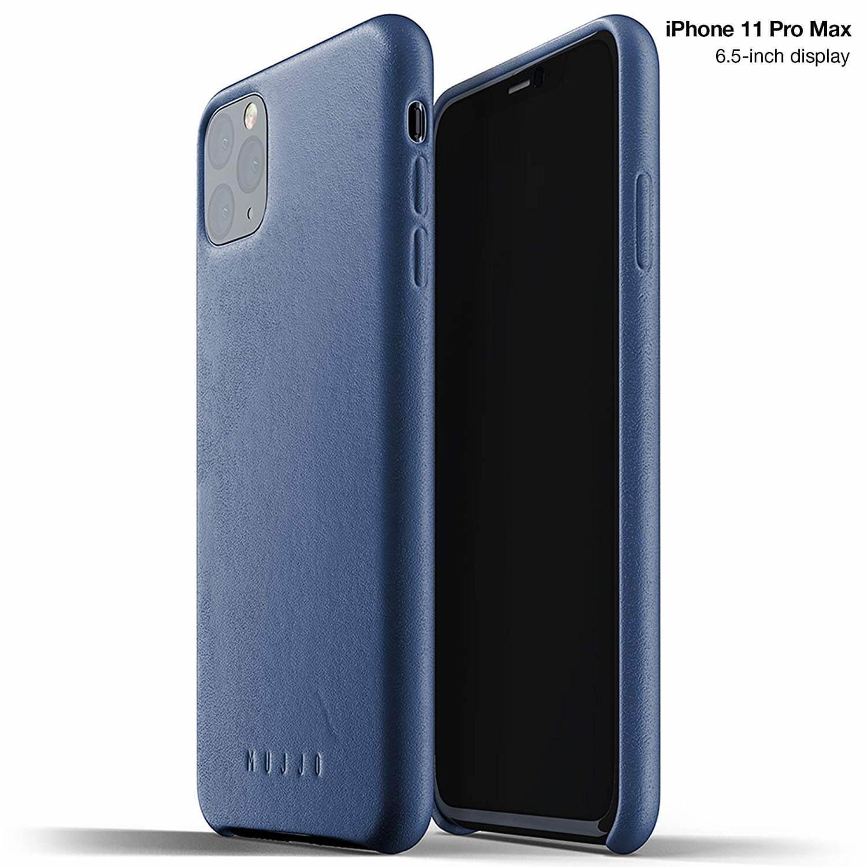 Mujjo Full Leather Case — кожен (естествена кожа) кейс за iPhone 11 Pro Max (син) - 1